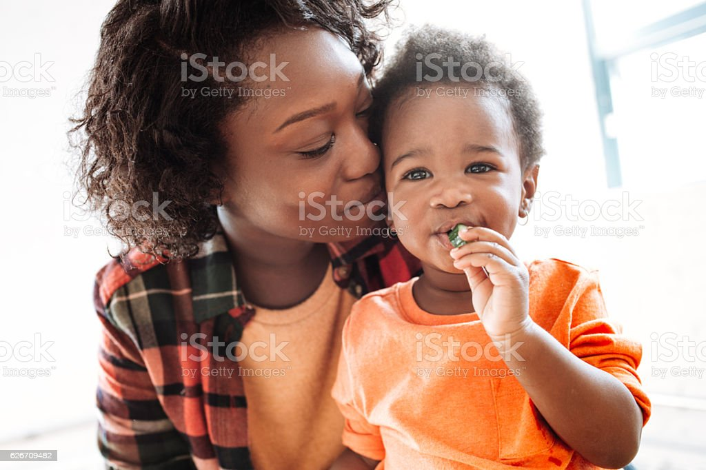 Toddler and mother -close up portrait stock photo
