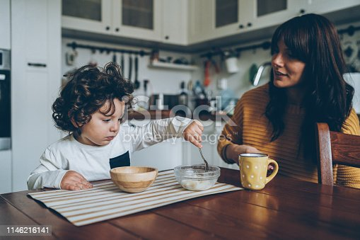 istock Toddler and mother on the table 1146216141