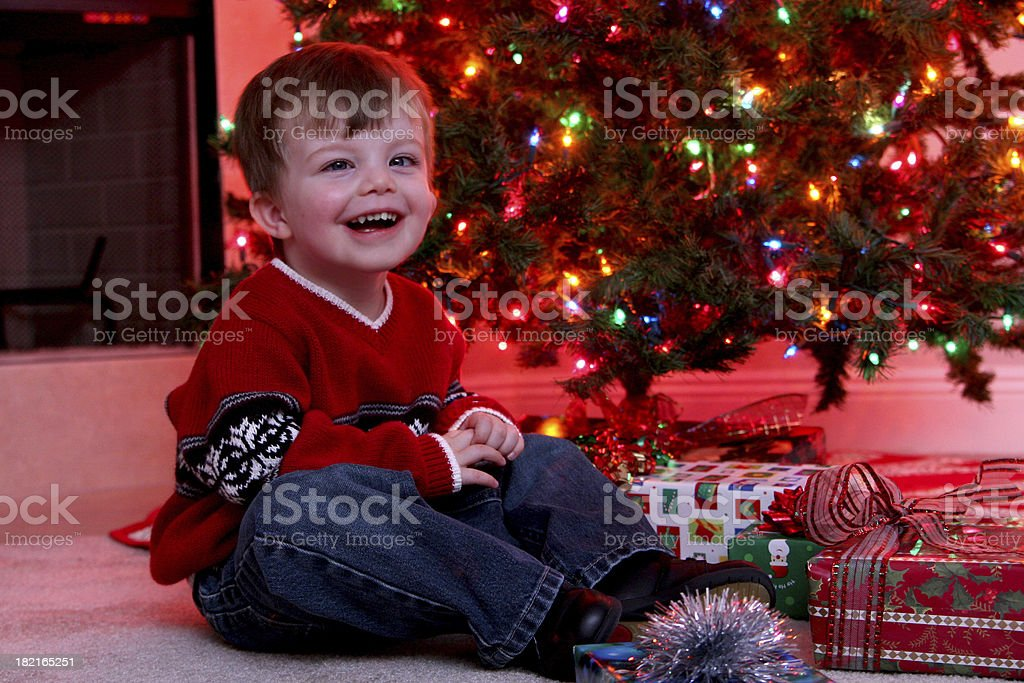 Toddler at Christmas. royalty-free stock photo