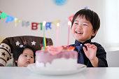 幼児, 赤ちゃん, と誕生日ケーキ