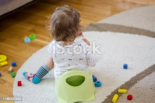 Cute little 12 months old toddler baby girl child sitting on potty and playing with toys