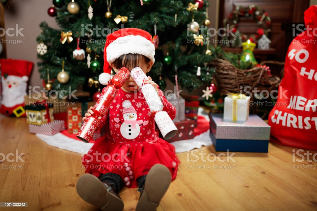 Toddler Christmas Tree Costume.Toddler Baby Girl Wearing Santa Claus Costume Play In Front