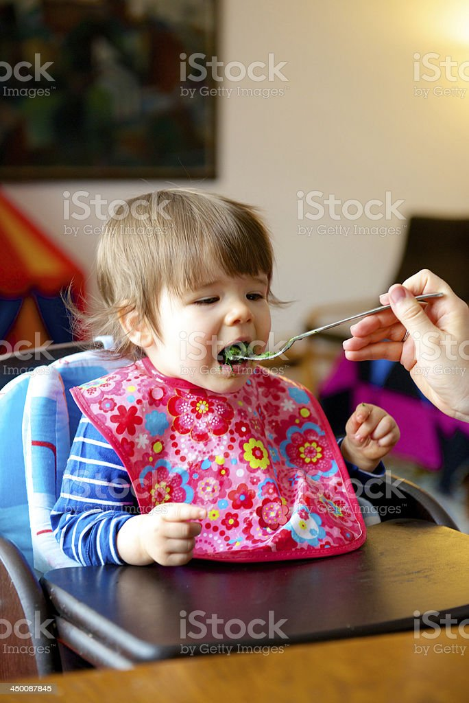 Toddler being fed royalty-free stock photo