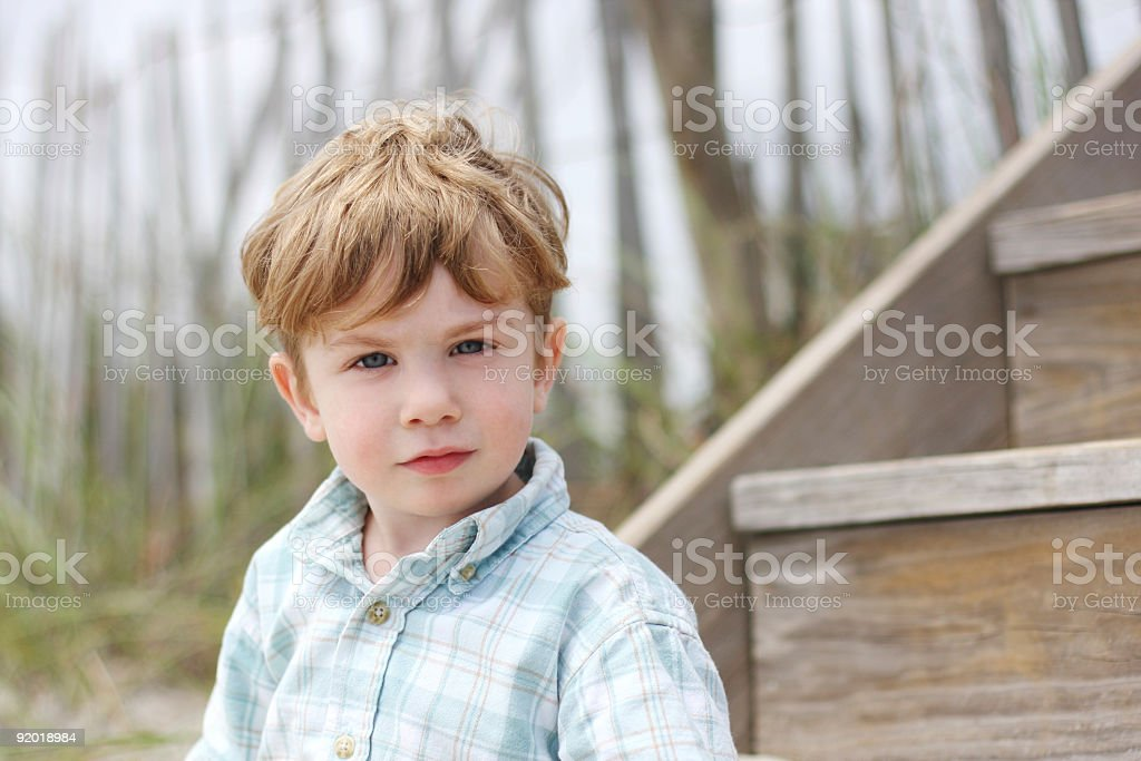 Toddler Boy at the Beach stock photo