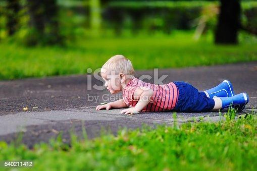 istock Toddler boy fell on park road 540211412
