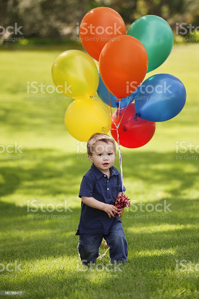 Toddler Boy Holding Colorful Helium Balloons on Park Lawn Vt royalty-free stock photo