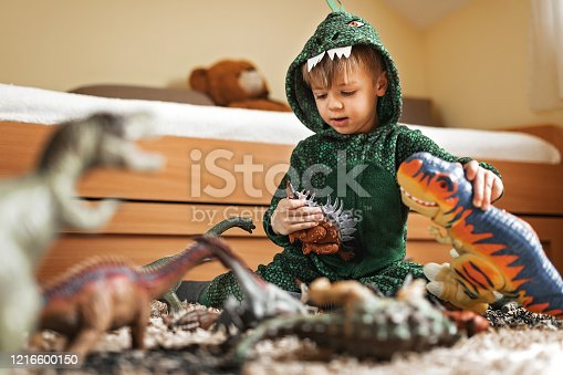 Adorable toddler boy in a dinosaur costume playing with his dinosaurs figures in his playroom