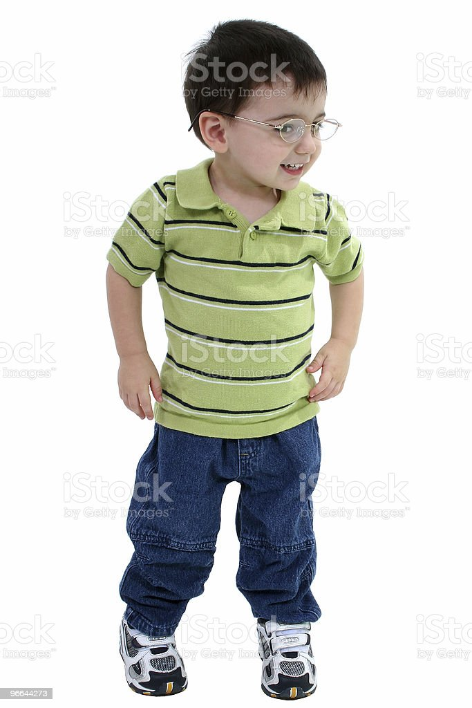 Toddler Boy In Glasses Over White royalty-free stock photo