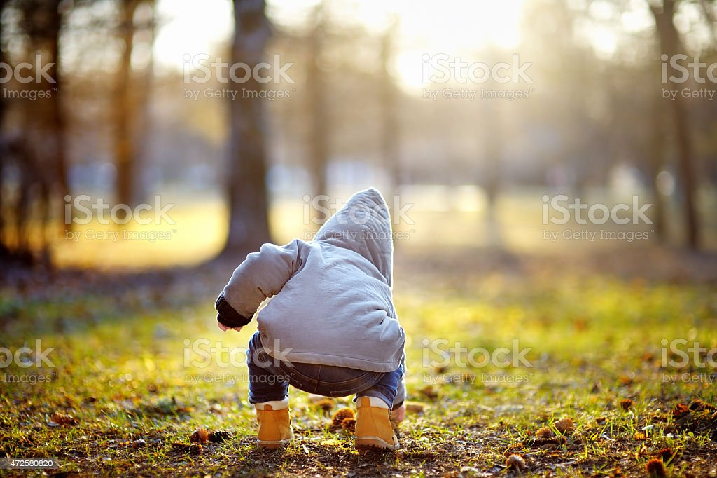 Toddler boy playing outdoors stock photo