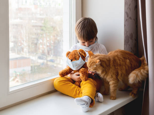 Toddler boy sits with teddy bear, both in medical masks. Kid with cute ginger cat. Fluffy pet and child on home quarantine because of coronavirus COVID-19. stock photo