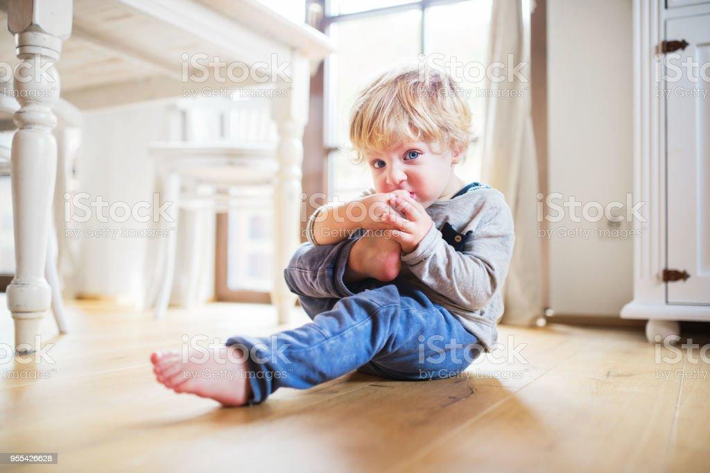 A toddler boy sitting on the floor at home. - Zbiór zdjęć royalty-free (Blond włosy)