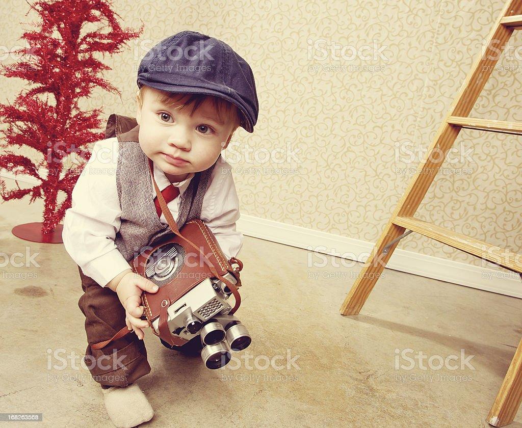 toddler boy video camera portrait royalty-free stock photo