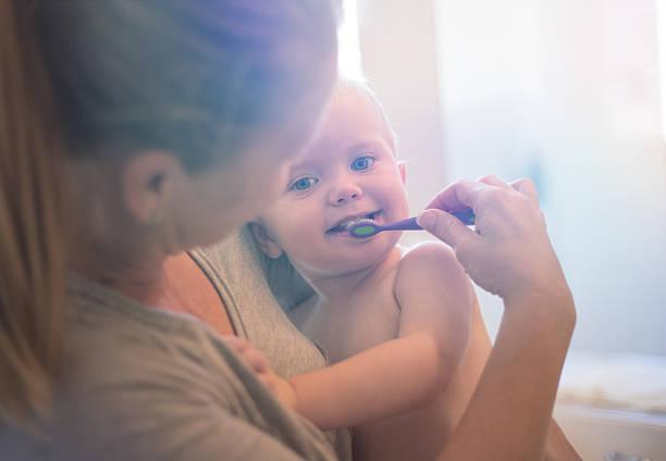 toddler brushing teeth - baby teeth stok fotoğraflar ve resimler