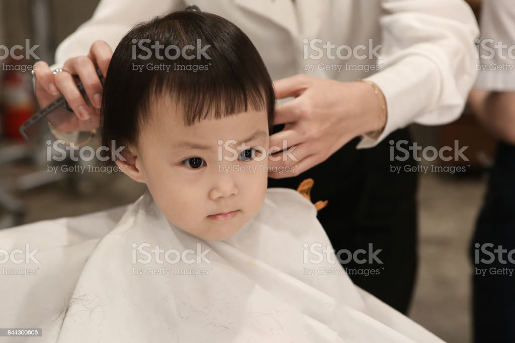Toddler Child Getting Her First Haircut Stock Photo More Pictures