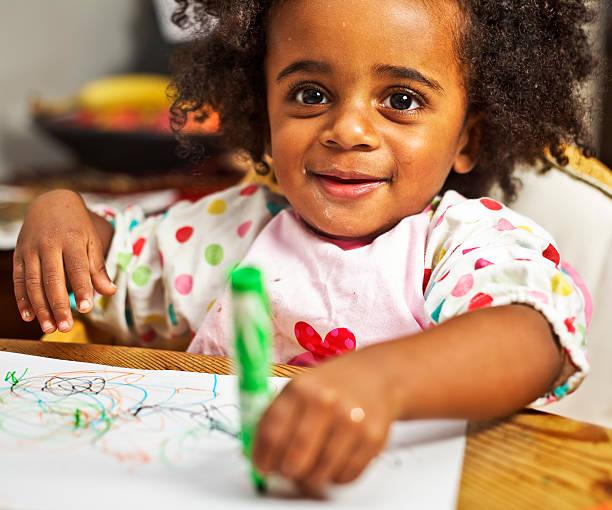 Toddler colouring stock photo