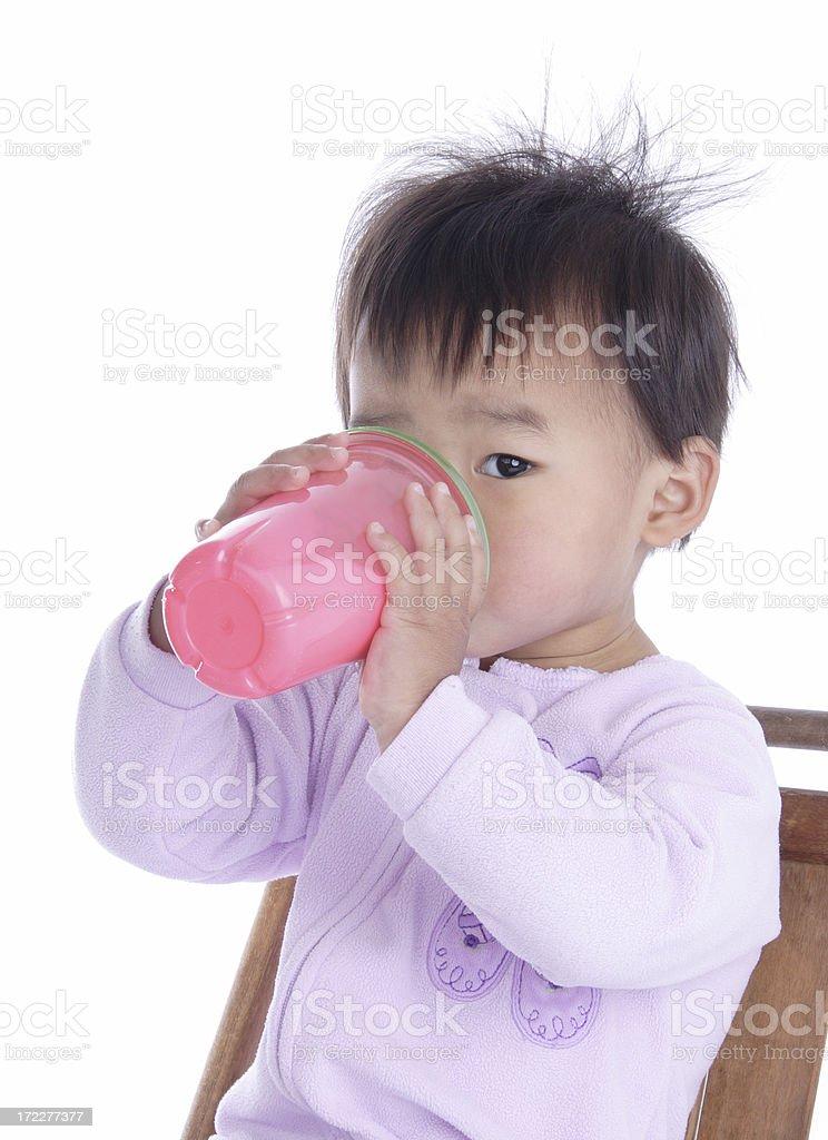 Toddler Drinking Milk stock photo