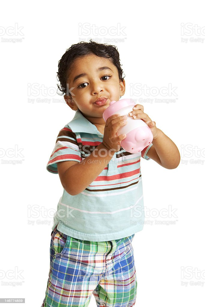 Toddler Drinking Water from a Cup stock photo