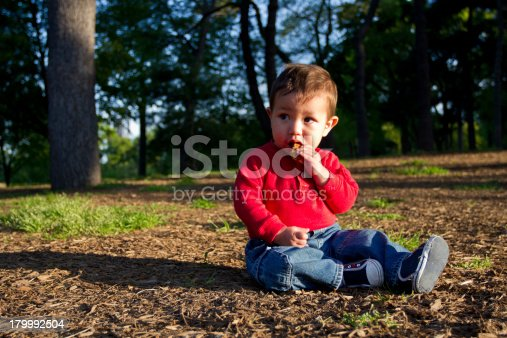 A young kid, toddler, eating a chocolate cookie and sitting down on the dirt in a park.
