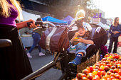 A happy toddler strapped into a seat on a cargo bike being pushed through a farmers market by his mother and wearing a helmet holds out a cherry tomato to the camera.