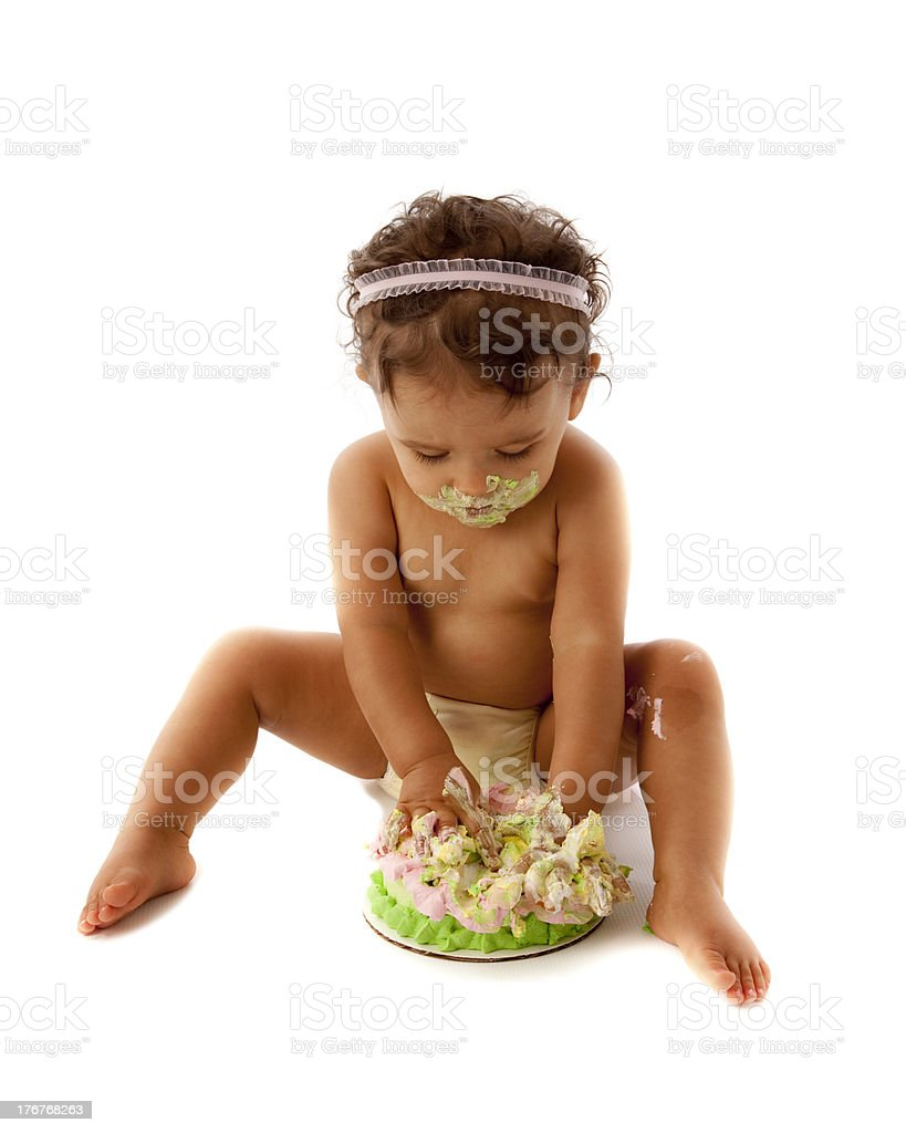 Toddler Girl with Her First Birthday Cake royalty-free stock photo