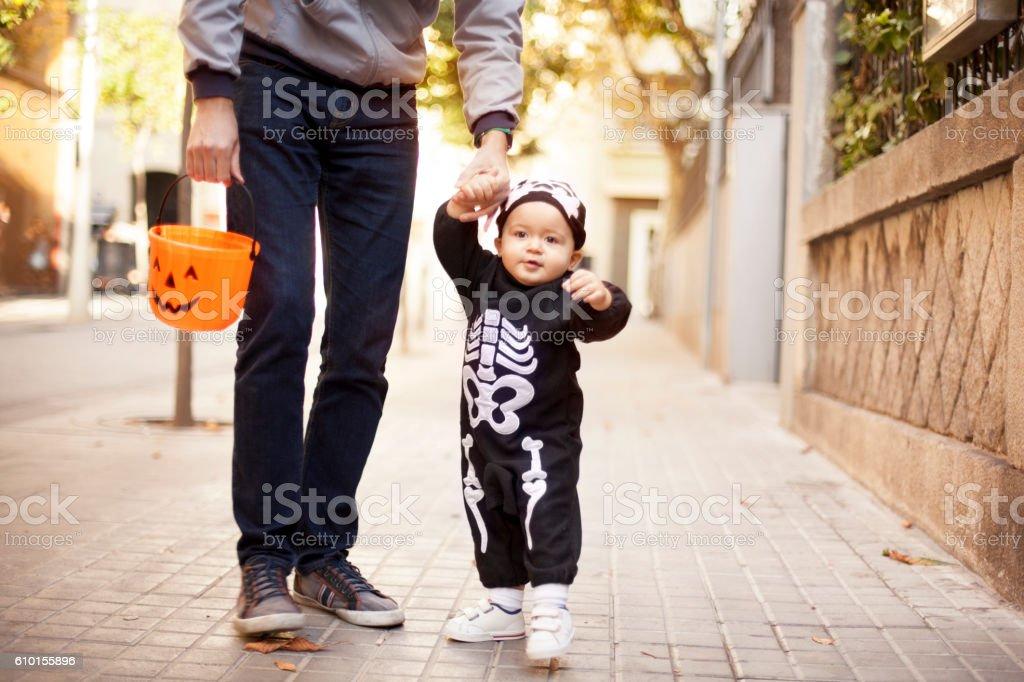 Toddler in skeleton costume stock photo