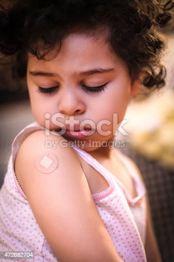 istock Toddler (3-4) Looking at Her Bandage on her Arm 472662704