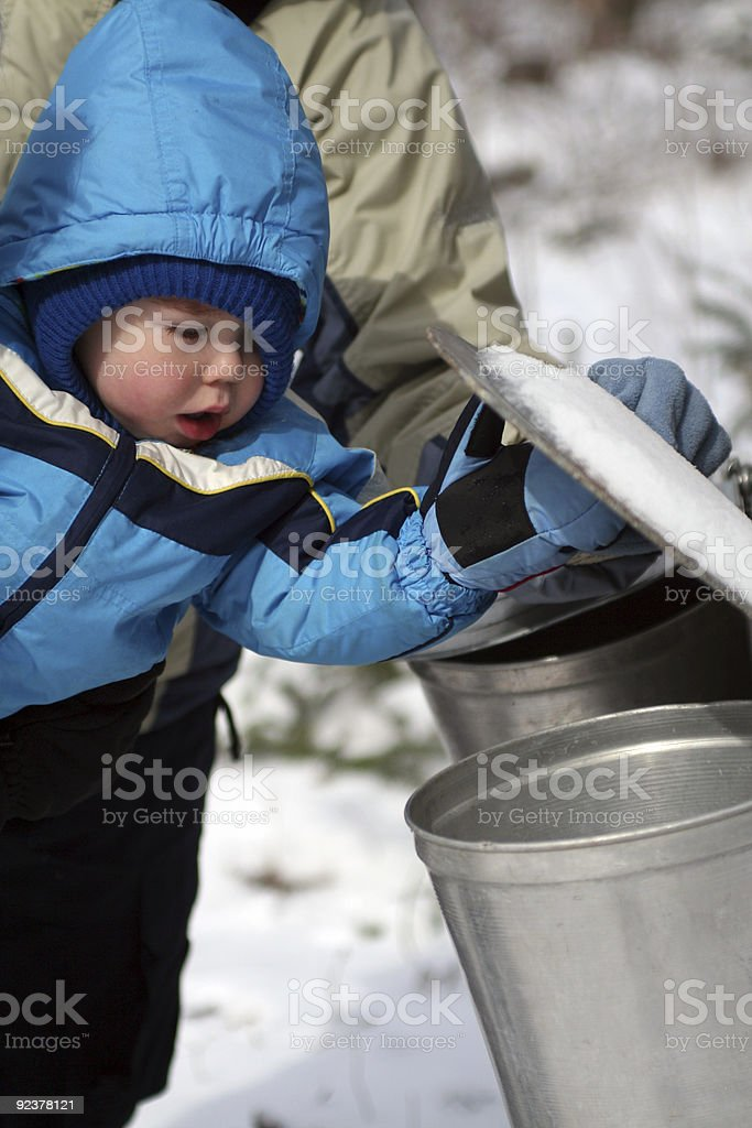 Toddler Looking in Pail royalty-free stock photo