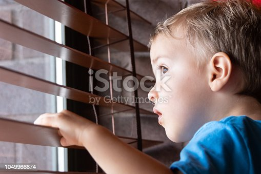 male caucasian toddler looking through a window