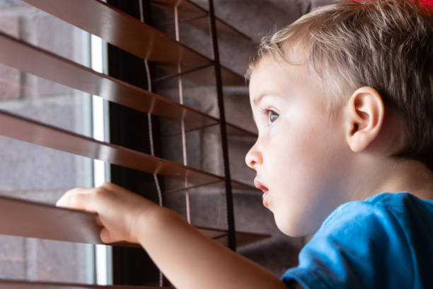 toddler looking through a window stock photo