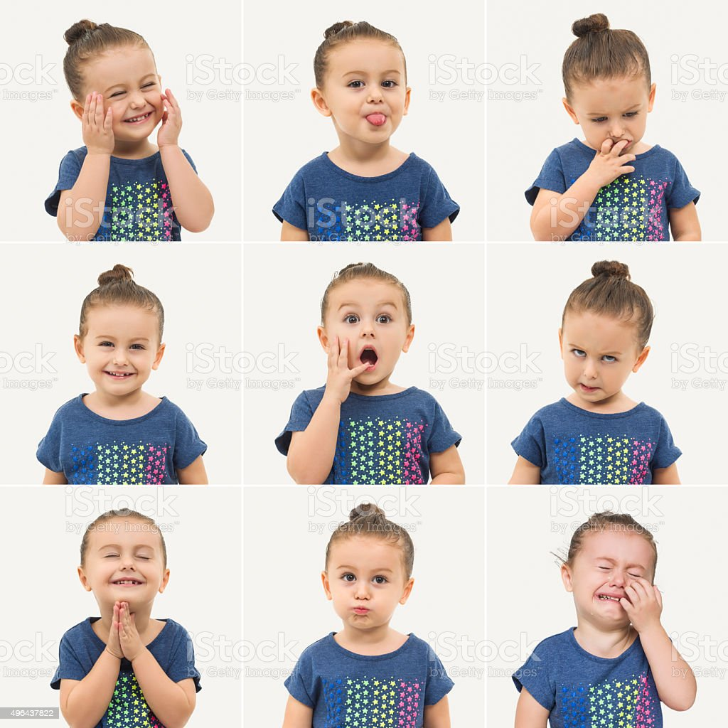 Toddler making different face expressions stock photo