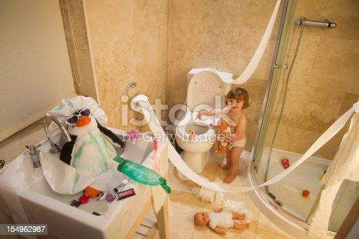 toddler causes mayhem in the bathroom
