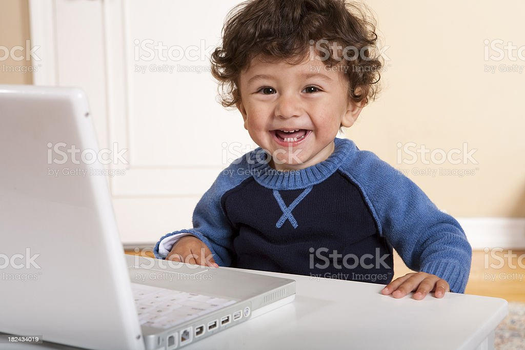 Toddler on Computer royalty-free stock photo