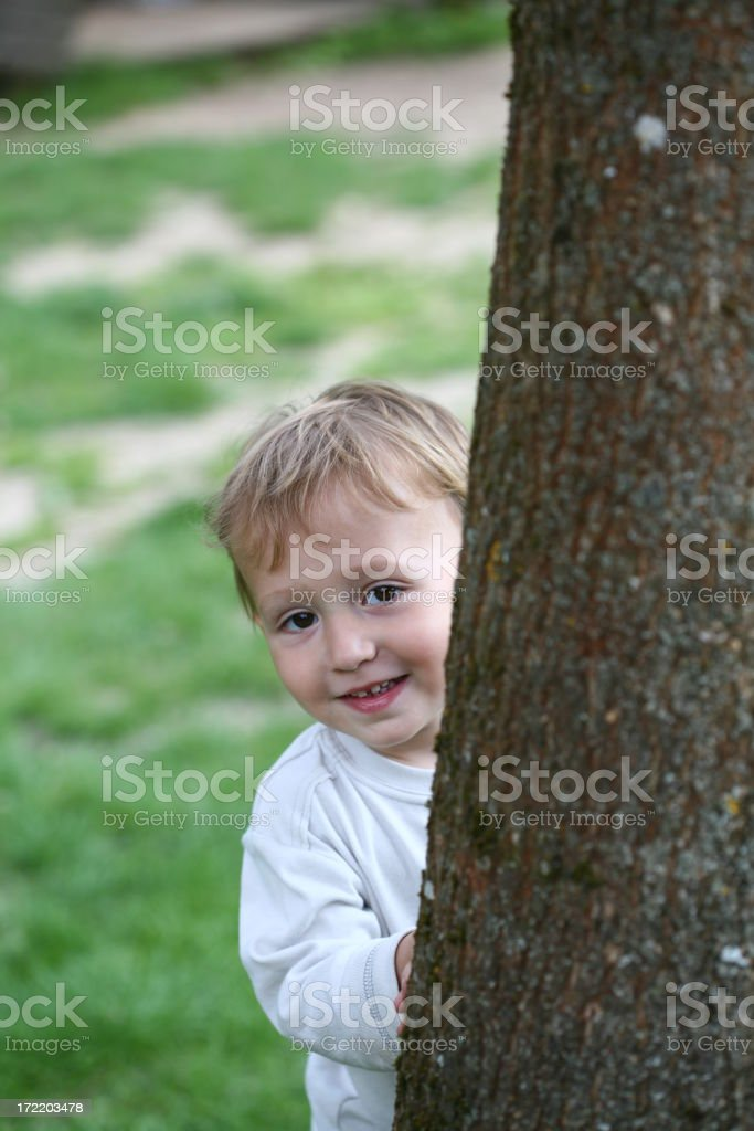Toddler playing hide and seek royalty-free stock photo