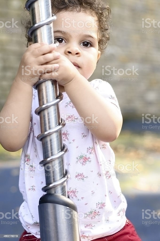 Toddler (1.5 years old ) Playing In Playground royalty-free stock photo