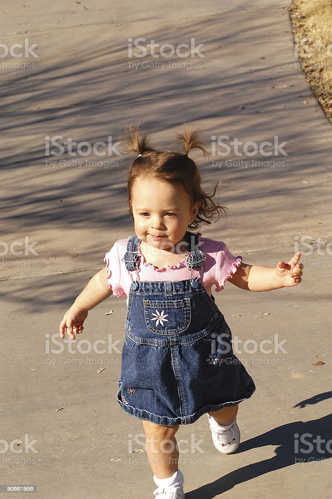 Toddler Running on Path royalty-free stock photo