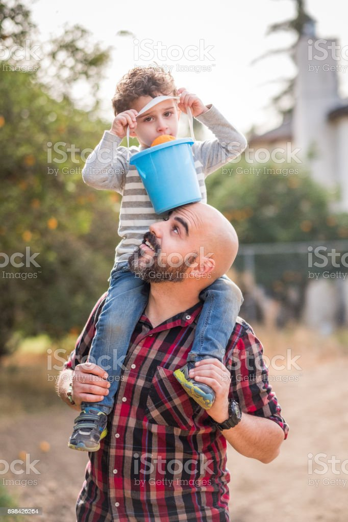 Toddler son sits on father's shoulder stock photo