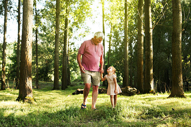 Toddler spending time with grandfather in the park stock photo