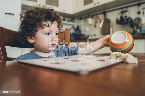 istock Toddler spilled his breakfast 1006811562