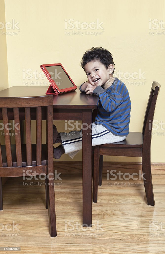 Toddler Using a Tablet Computer royalty-free stock photo