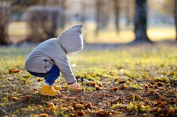 toddler walking outdoors at the warm spring day - bos spelen stockfoto's en -beelden