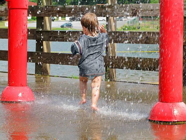 Toddler Water Park Fun stock photo