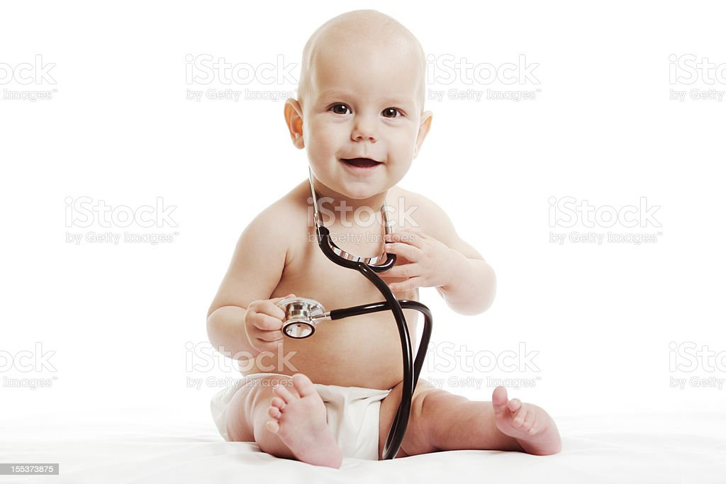 Toddler with a stethascope royalty-free stock photo