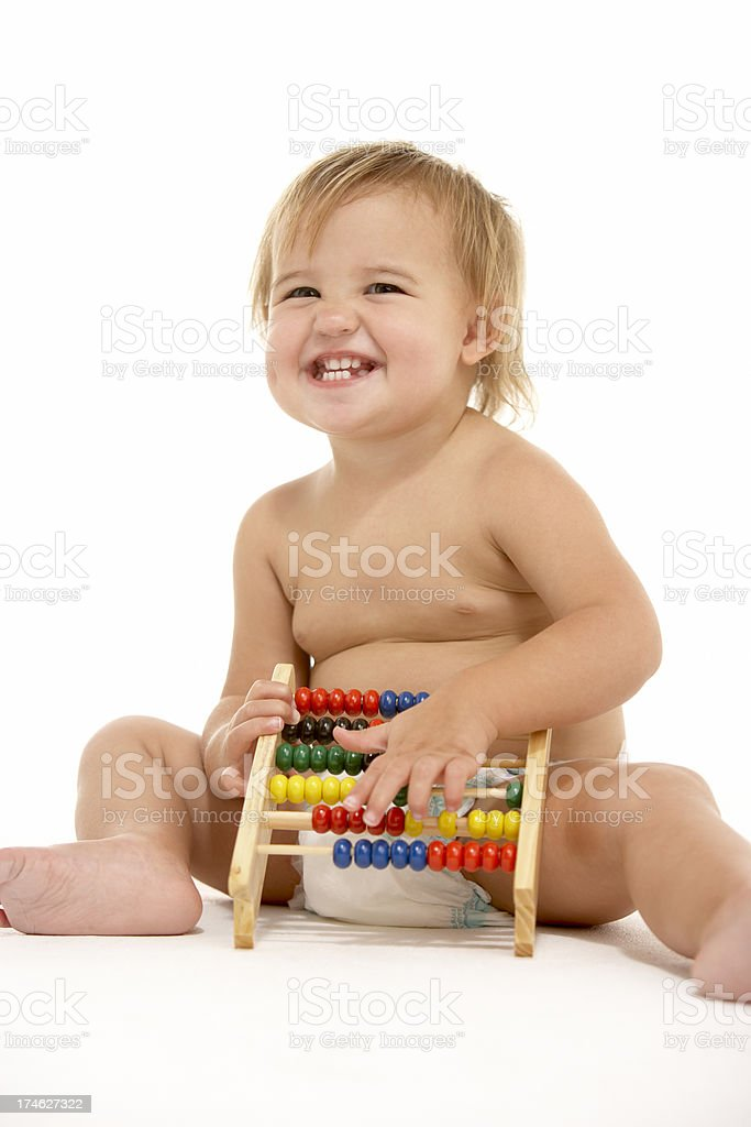 Toddler With Abacus royalty-free stock photo
