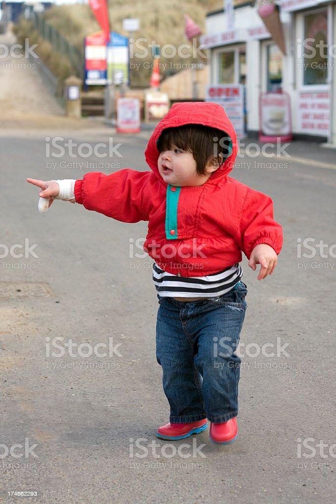 Toddler with bandaged hand royalty-free stock photo
