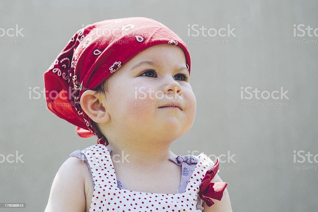 Toddler with bandana stock photo