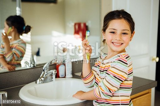 istock Toddler with toothbrush 519704410
