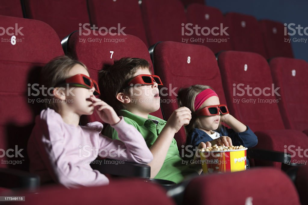 Toddlers in the movie stock photo