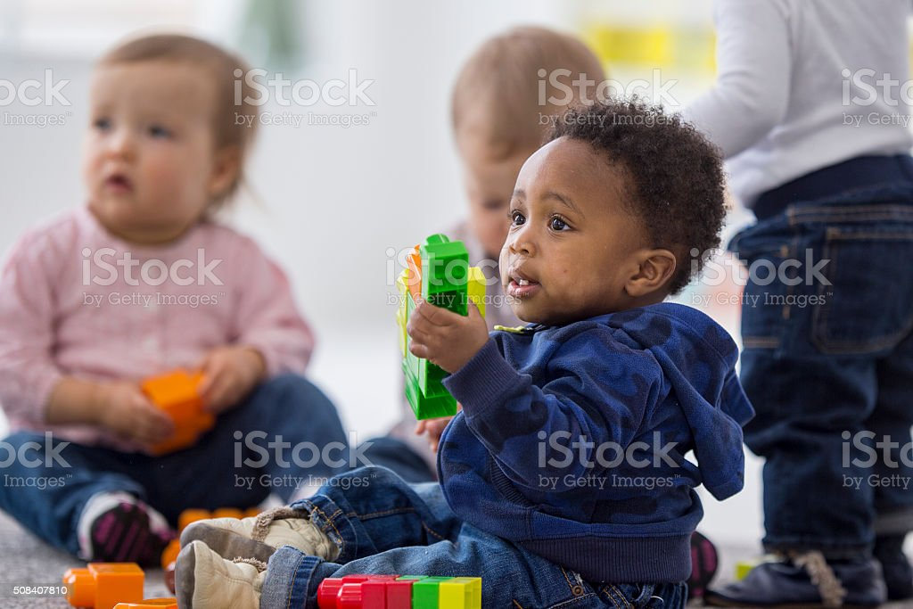 Toddlers Playing with Blocks stock photo