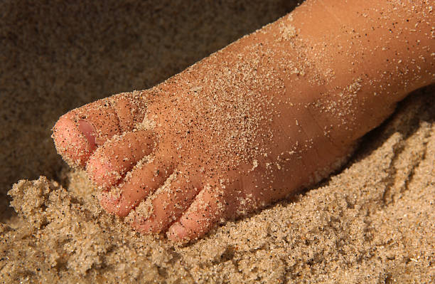Toddler's Sandy Foot on Beach at Seashore stock photo