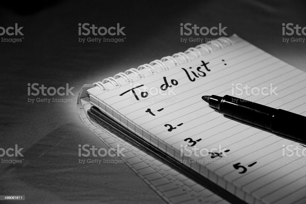 To-do list under the light
